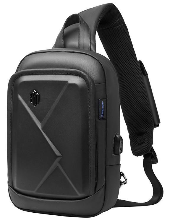 Стильный однолямочный рюкзак Arctic Hunter XB00080, с карманом для телефона с зарядкой, влагозащищённый, 5л