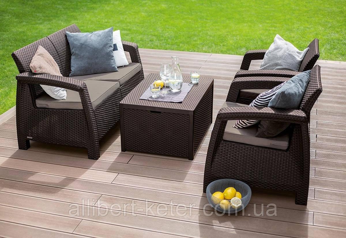 Набор садовой мебели Corfu Box Set Brown ( коричневый ) из искусственного ротанга