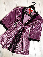 Велюровый женский халат с кружевом 082-1 пинк.