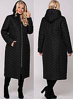 Женское черное стеганное пальто большого размера 54,56,58,60