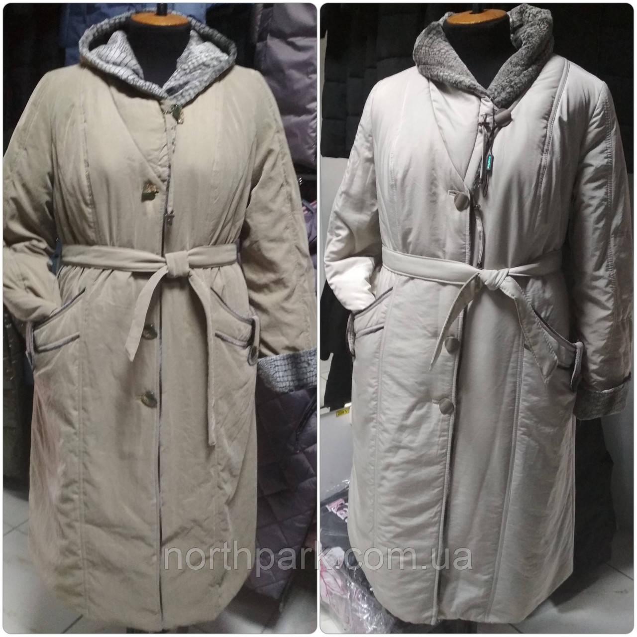 Тёплое длинное женское пальто с капюшоном, больших размеров