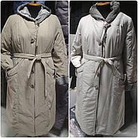 Тёплое длинное женское пальто с капюшоном, больших размеров, фото 1