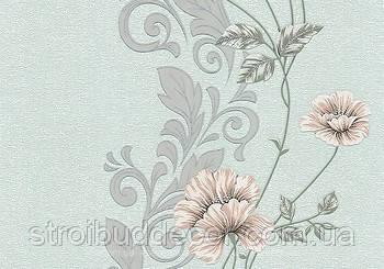 Виниловые обои 0,53*10,05  коридор, гостиная, спальня ветки с цветами (светло-бирюзовый + серый)