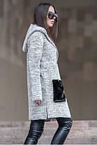 Молодёжный  кардиган из букле с накладными карманами из меха с 42 по 48 размер, фото 3