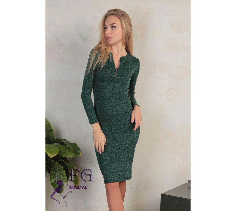 Стильное платье до колен длинный рукав темно-зеленый