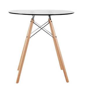 Стол Имз, стеклянный, дерево, диаметр 80 см