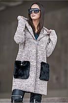 Женкский  кардиган из букле с накладными карманами из меха батал с 50 по 56 размер, фото 2