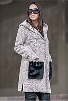 Женкский  кардиган из букле с накладными карманами из меха батал с 50 по 56 размер, фото 3