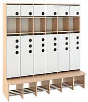 Шкаф 6-дверный для раздевалки, со стационарной лавочкой, из серии «Мыльные пузыри»