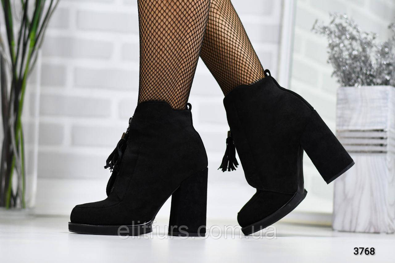 Ботинки зимние на устойчивом каблуке, эко-замш