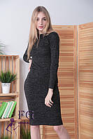 Теплое платье миди на каждый день по фигуре ангора цвет графит