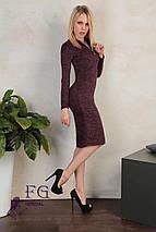 Осеннее платье на каждый день миди приталенное бордовое, фото 2