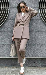 Женский брючный костюм пиджак на подкладке и завышенные брюки 42-48 р.