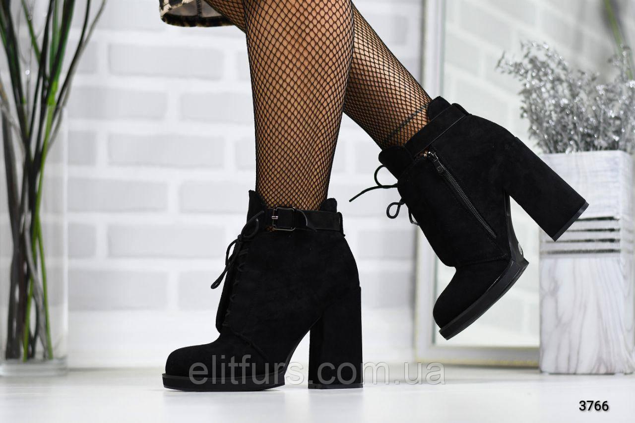 Ботинки зимние со шнуровкой, эко-замш