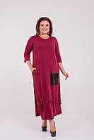 Батальне довге плаття з паєтками на кишенях,3 кольори .Р-ри 50-64, фото 1