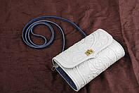 Белая кожаная сумочка трансформер, сумочка-клатч на плечо/на пояс, фото 1