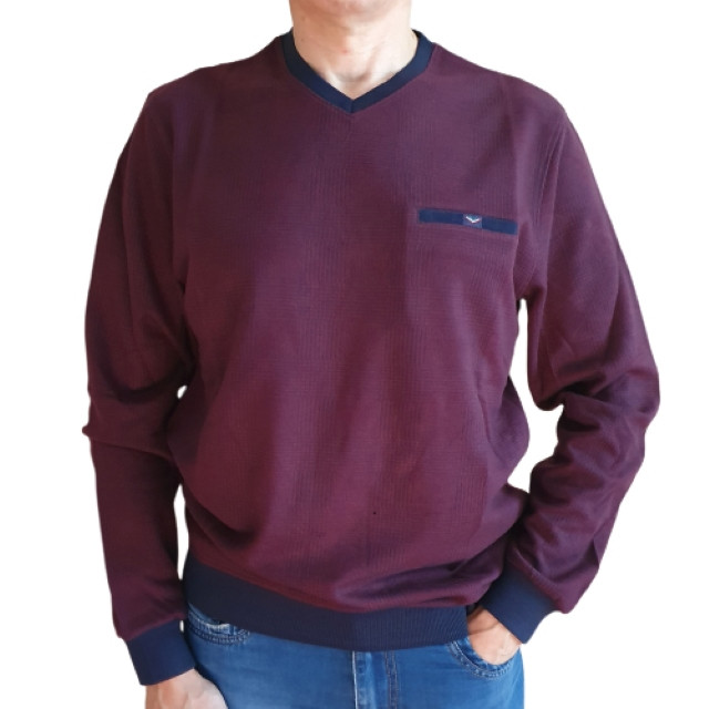 Плотный бордовый свитер Caporicco (Турция) с вырезом мыс