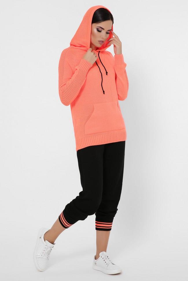 """Вязаный женский костюм """"AIRON"""" KSA0003 оранжевая кофта с капюшоном и черные штаны"""
