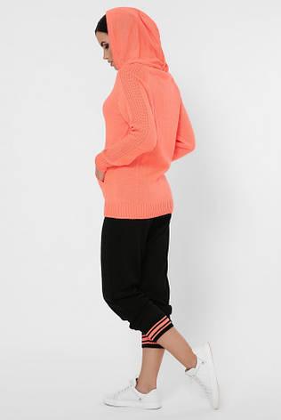 """Вязаный женский костюм """"AIRON"""" KSA0003 оранжевая кофта с капюшоном и черные штаны, фото 2"""