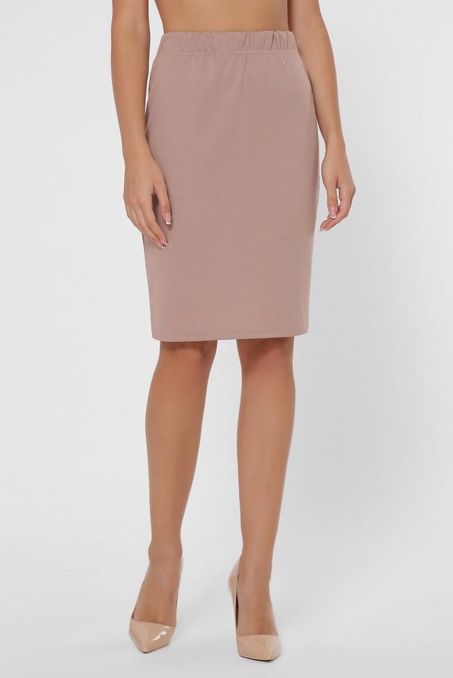 Повседневная юбка миди на резинке для работы или прогулок бежевая