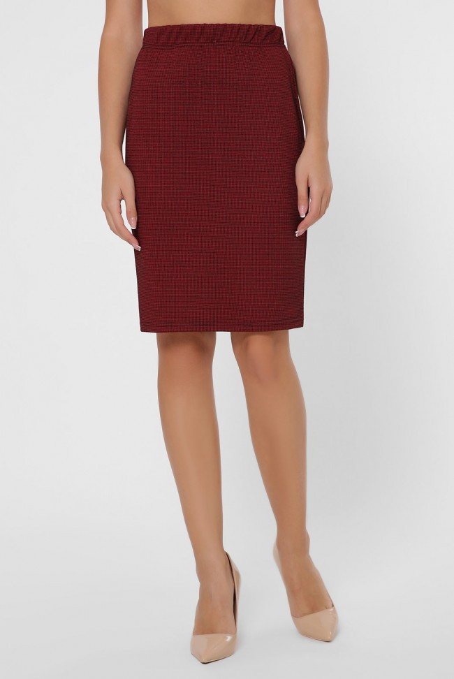 Бордовая юбка на резинке
