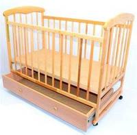 """Кроватка-качалка детская с шуфлядкой """"Наталка"""" ольха светлая"""