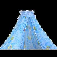 Балдахин на всю детскую кроватку с бантом из вуали