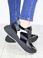Кроссовки кожаные Ba!enc!aga черные 7147-28