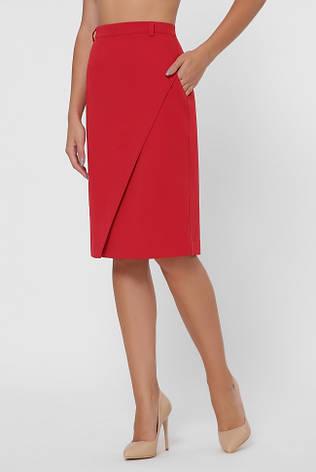 Стильна червона спідниця прямого силуету, фото 2