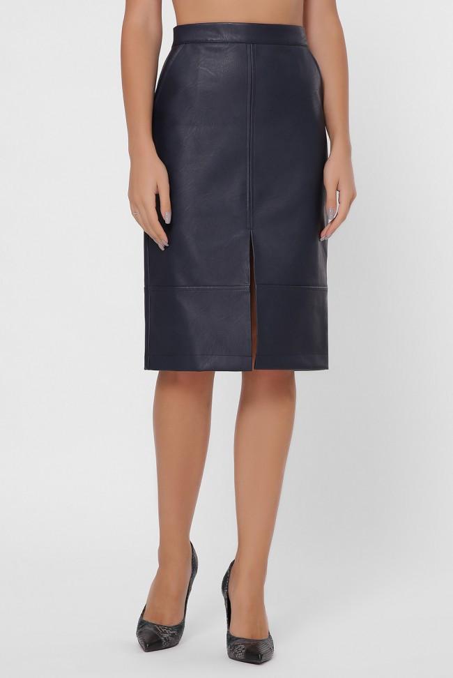 Синяя юбка миди из эко-кожи