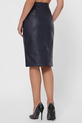 Синяя юбка миди из эко-кожи, фото 2