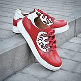 Кеды женские красные кожаные 752027, фото 5