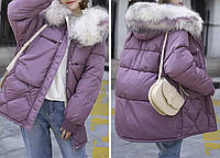 Куртка пуховик зимняя женская (лиловая)