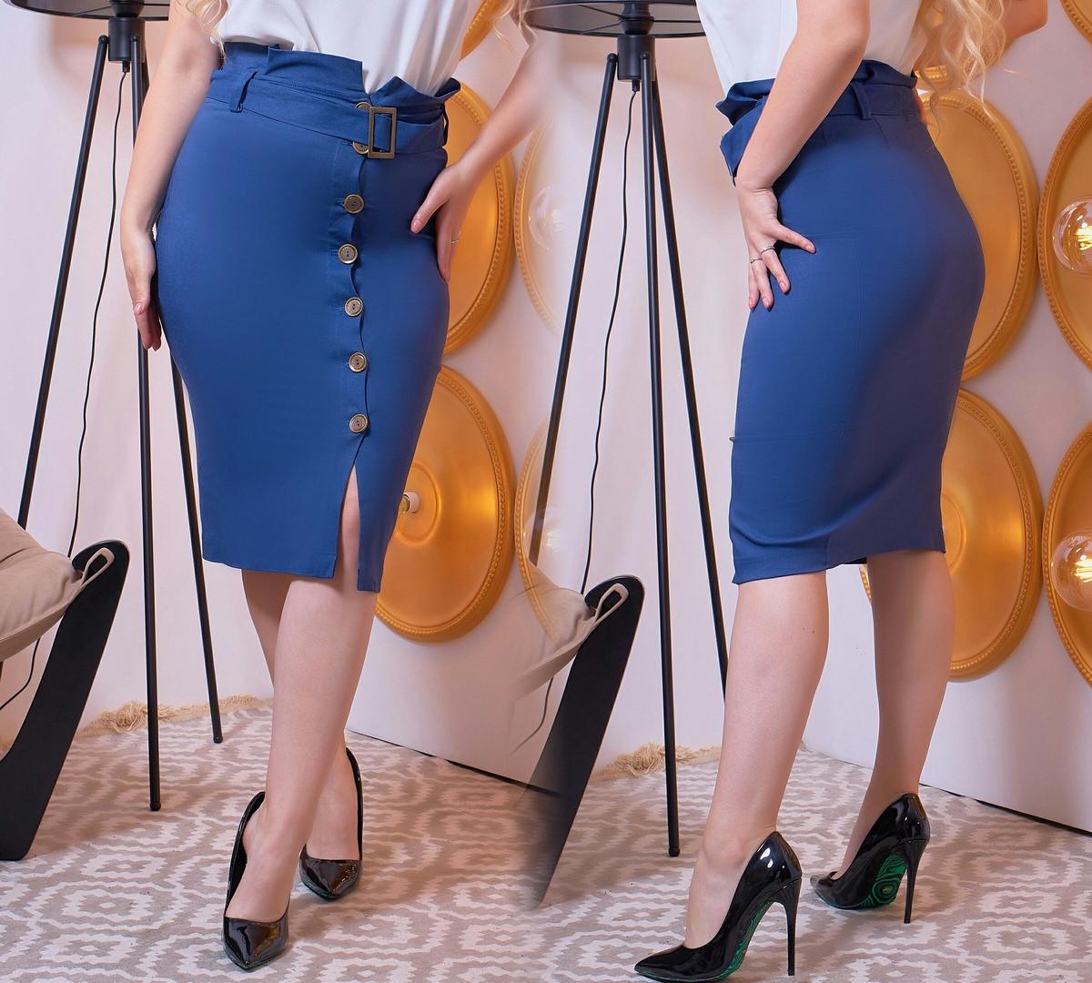 """Джинсовая офисная юбка-карандаш """"DOLCE"""" с поясом (большие размеры)"""