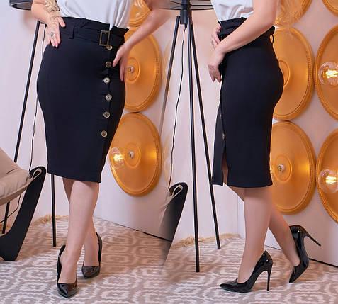 """Джинсовая офисная юбка-карандаш """"DOLCE"""" с поясом (большие размеры), фото 2"""