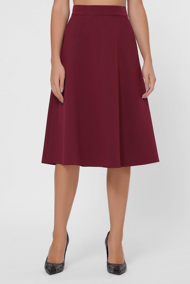 Бордовая юбка миди А-силуэта