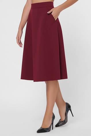 Бордовая юбка миди А-силуэта, фото 2