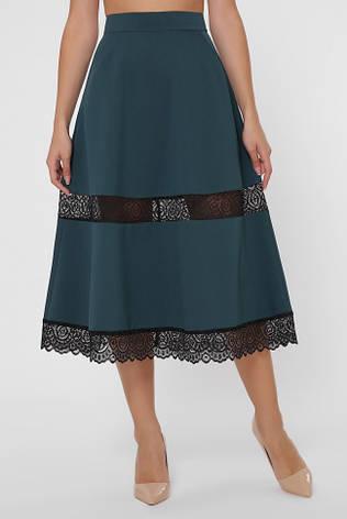 Широкая зеленая юбка с кружевными вставками, фото 2