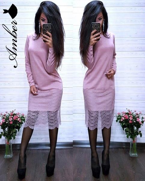Женское стильное платье с гипюром, в расцветках