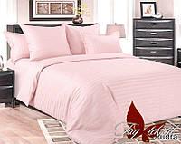 Двуспальный комплект постельного белья Страйп-сатин бледно розовое