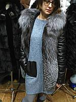 Шубка-куртка из чернобурки с кожаными рукавами, женская шуба
