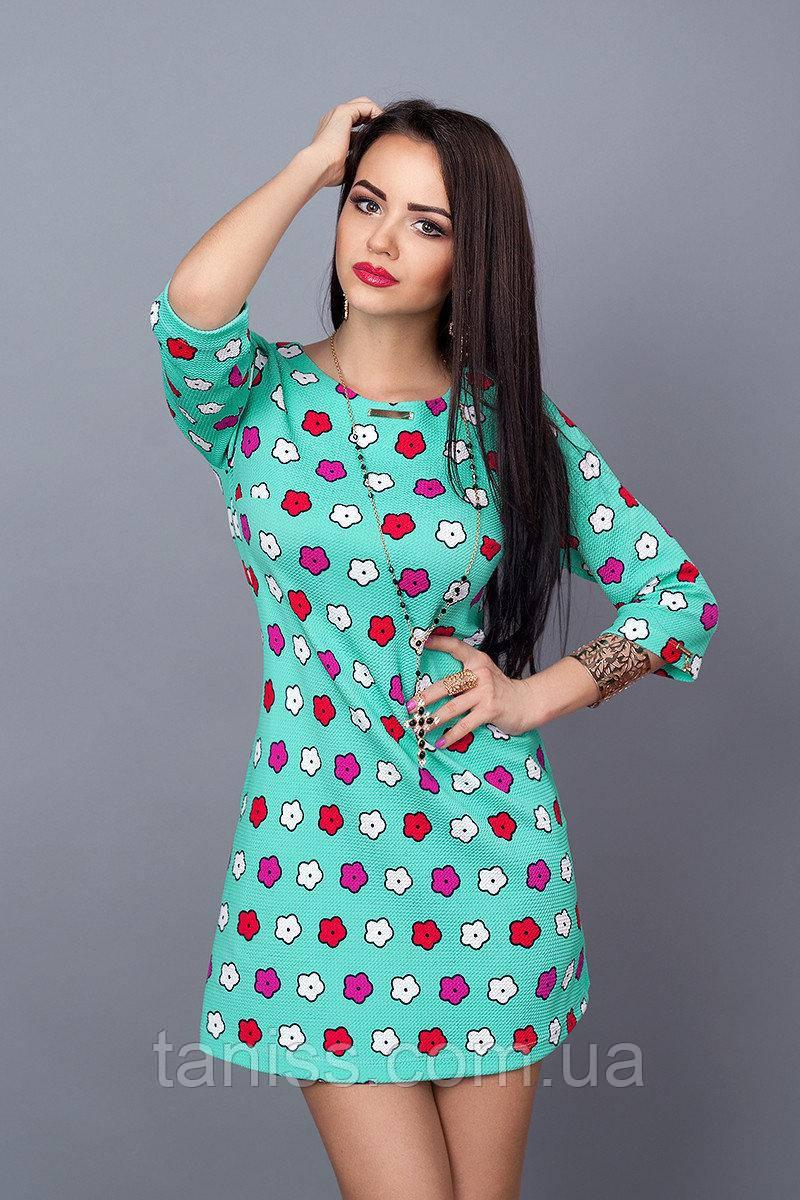 Молодежное короткое деловое платье, мини, рукав до локтя, итальянский трикотаж, р. 42,44,46 бирюза (237)