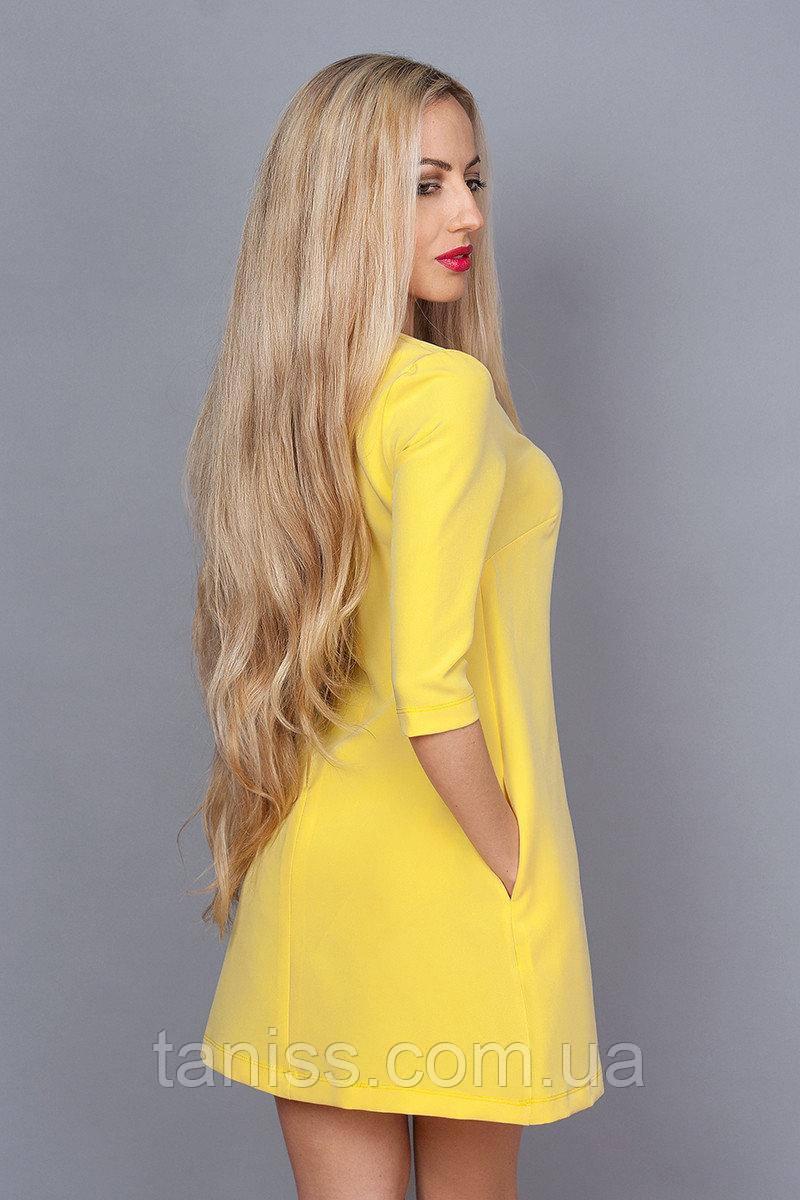 Молодежное короткое деловое платье, мини, рукав до локтя, итальянский трикотаж, р. 48 желтый (237)