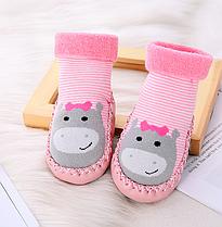 Носки - чешки махровые детские Розовый бегемот
