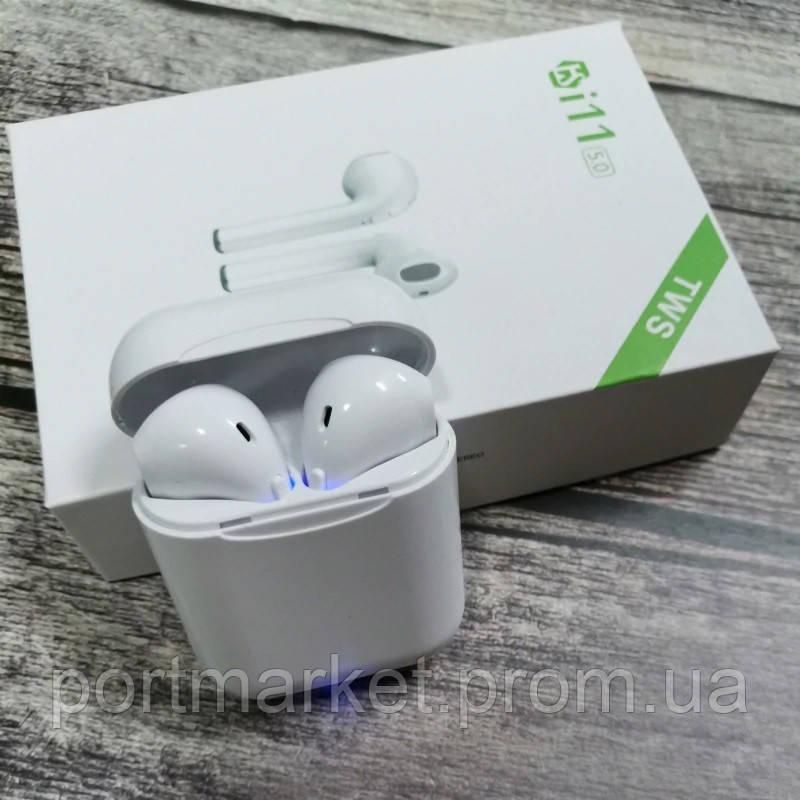 Беспроводные Bluetooth наушники AirPods  i11 TWS белые.