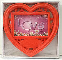 Рамка сердце Love на 1 фото, красная.