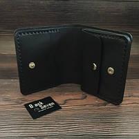 Черный мужской кошелек ручной роботы от BlackSeven компакт, фото 3