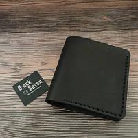 Черный мужской кошелек ручной роботы от BlackSeven компакт, фото 4