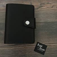 Черное мужское портмоне для документов ручной работы, фото 4