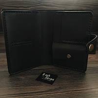 Черное мужское портмоне для документов ручной работы, фото 5